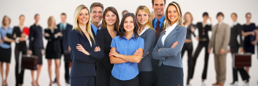 Group of smiling business people over people group background.